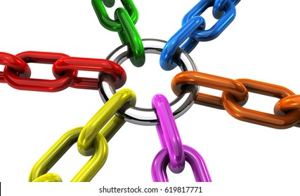 Business teamwork cooperation and collaboration concept with linked and joined chains in different colors 3D illustration on white background.