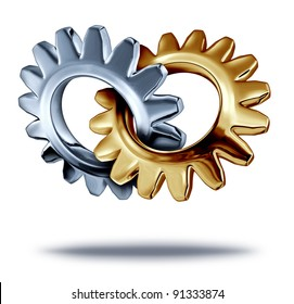Business teamwork partnership concept with chrome and a gold metal gears or cogs connected joining in the shape of a heart as a symbol of corporate merger for a symbiotic relationship.