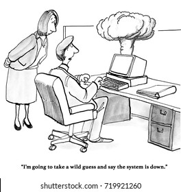 Business and technology cartoon showing smoke coming from a computer, the network is down.