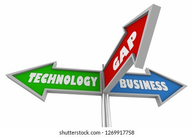 Business Technology Gap Between Opportunity Signs 3d Illustration