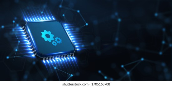 Business, Technology, Internet and network concept. Automation Software Technology Process System.Illustration. 3d rendering.
