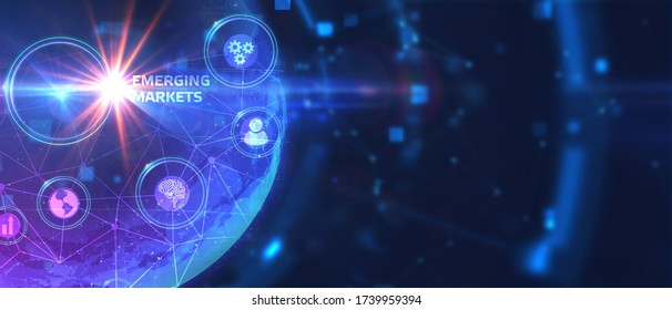Business, Technology, Internet and network concept. Young businessman working on a virtual screen of the future and sees the inscription: Emerging markets. 3d illustration