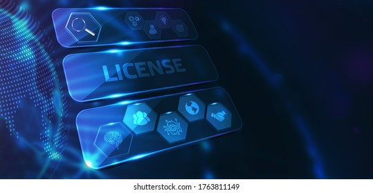 Business, Technology, Internet and network concept. Young businessman working on a virtual screen of the future and sees the inscription: License.  3D illustration.
