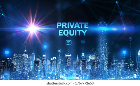 Business, Technology, Internet and network concept. Young businessman shows the word on the virtual display of the future: private equity 3d illustration