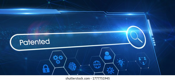 Business, Technology, Internet and network concept. Young businessman working on a virtual screen of the future and sees the inscription: Patented 3d illustration