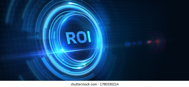 Business, Technology, Internet and network concept. ROI Return on Investment Finance Profit Success. 3D illustration.