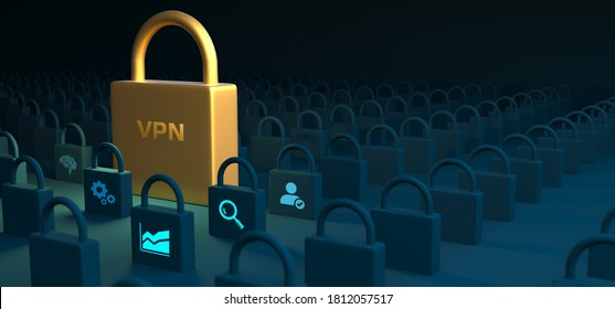 Business, Technology, Internet and network concept. VPN network security internet privacy encryption concept.3d illustration