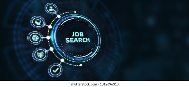 Business, Technology, Internet and network concept. Job Search human resources recruitment career.3d illustration