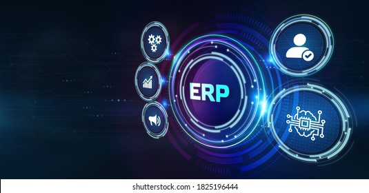 Business, Technology, Internet and network concept. Enterprise Resource Planning ERP corporate company management.3d illustration