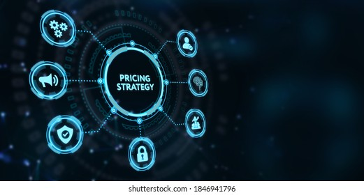 Business, Technology, Internet and network concept.  virtual display of the future: Pricing strategy 3d illustration