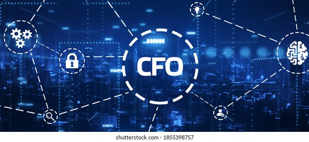 Business, Technology, Internet and network concept.  virtual screen of the future and sees the inscription: CFO 3d illustration