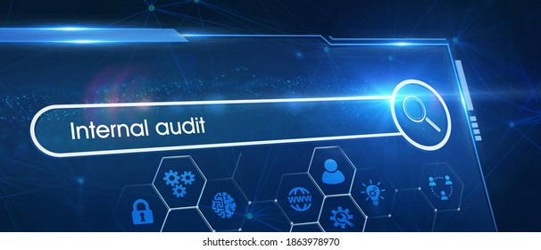 Business, Technology, Internet and network concept. Young businessman working on a virtual screen of the future and sees the inscription: Internal audit 3d illustration