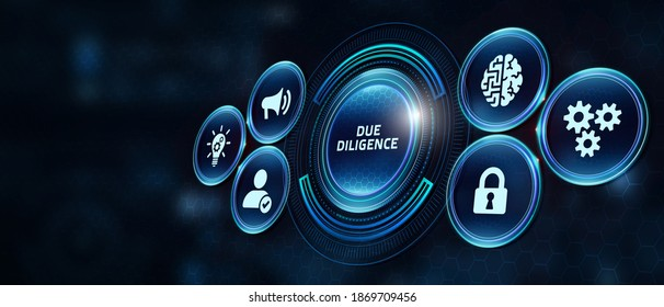 Business, Technology, Internet and network concept. Businessman working on the tablet of the future, select on the virtual display: Due diligence 3d illustration