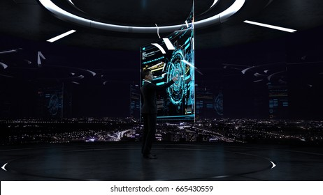Business, technology and people concept - young businessman working with virtual hud interface. Concept for future business, 3d illustration.