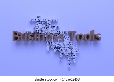 Business Tools, business keyword and words cloud. For web page or design, as graphic resource, texture or background. 3D rendering.