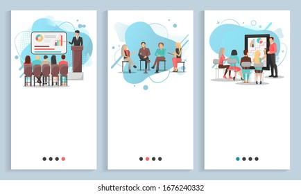 Business training set, man and woman discussing, conference and chart report, worker character brainstorming, employee cooperation, meeting raster. People on seminar. App slider, landing page flat