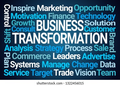 Business Transformation Word Cloud on Blue Background