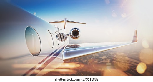 Business travel concept.Generic design of white luxury private jet flying in blue sky at sunset.Uninhabited desert mountains on the background.Horizontal,flares effect. 3D rendering.