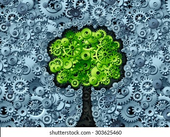 Business tree concept as a symbol for a growing economy and industry as machine gears and cog wheels shaped as a growing plant with green leaves as an icon of success in industry activity.