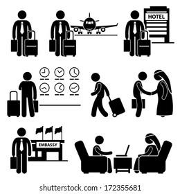 Business Trip Businessman Travel Meeting Stick Figure Pictogram Icon
