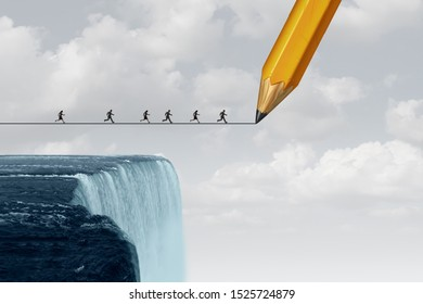Business trust concept drawing a bridge and conquering adversity as a group of people running from a waterfall with the help of a pencil line sketch with 3D illustration elements.