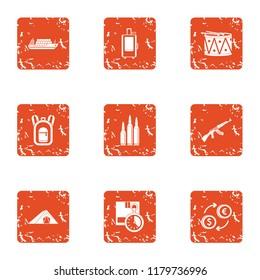 Business undertaking icons set. Grunge set of 9 business undertaking icons for web isolated on white background