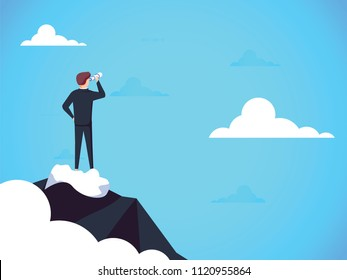 Business vision concept with business man standing on top of mountain above clouds. Symbol of new opportunities, career ladder, visionary, success, promotion.