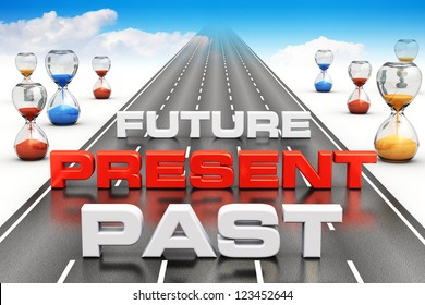 Business vision, perspective and time passing concept: past, present and future on long endless road with hourglasses towards blue sky with white clouds