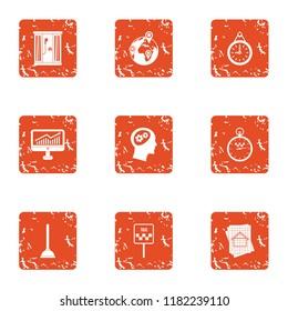 Business wandering icons set. Grunge set of 9 business wandering icons for web isolated on white background