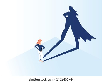Business woman with big shadow superhero. Super manager leader in business. Concept of success, quality leadership, trust, emancipation. Illustration flat style. Feminism, equal gender rights