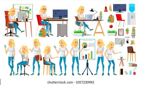 Business Woman Character. Blonde Elegant Modern Girl. Expressions. Working On The Computer. Desk. Brainstorming. Cartoon Illustration