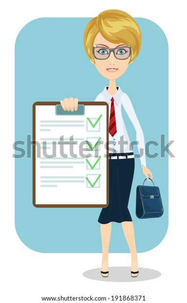 Business woman with a document in which all approved, illustration