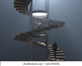 business woman in a glass elevator cabin, 3d illustration