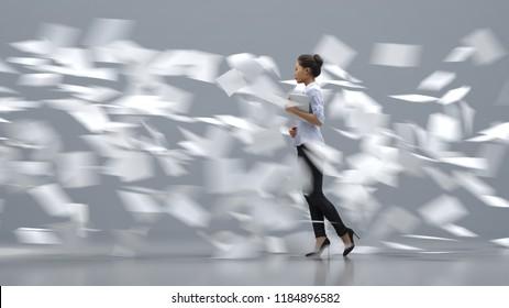 business woman going against the paper flow, 3d illustration