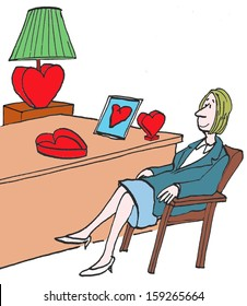 Business woman with heart shaped gifts.