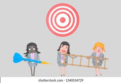 Business woman holding a big blue dart . Ladder. Dartboard. Isolated. 3d illustration