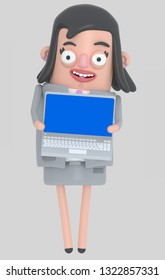 Business woman holding a laptop with a blue screen. Isolated.. 3d illustration