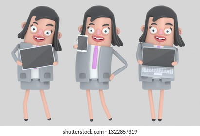 Business woman holding laptop, smarthone and Tablet. Isolated. 3d illustration