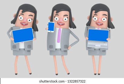Business woman holding laptop, smarthone and Tablet blue screen. Isolated. 3d illustration
