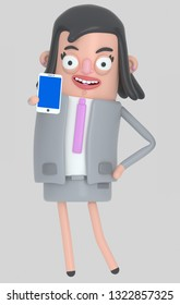 Business woman holding a smartphone with a blue screen. Isolated.. 3d illustration