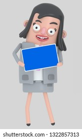 Business woman holding a Tablet with a blue screen. Isolated. 3d illustration