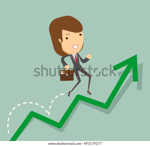 business woman jump over growing chart. Stock illustration.