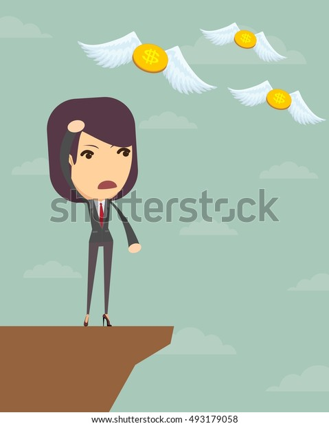 Business woman is losing money, and he flies to nowhere. Stock illustration.
