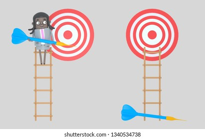 Business woman on ladder holding a blue dart. Dartboard. Isolated. 3d illustration