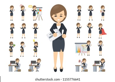 Business woman set. Posing and emotions. Cartoon character