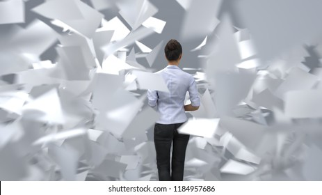 business woman standing in the paper flow, 3d illustration