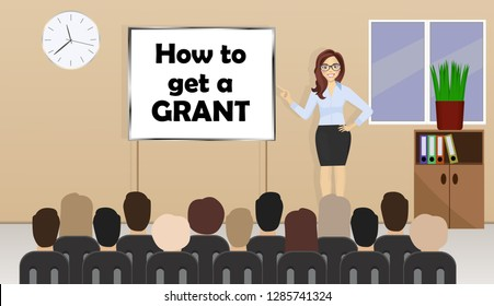 Business woman stands near presentation board with text how to get a grant