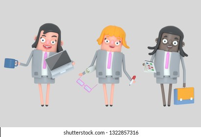 Business woman teamwork standing. Isolated. 3d illustration