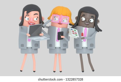 Business woman teamwork working. Isolated.. 3d illustration
