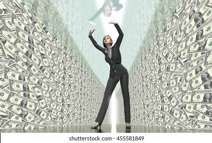 business woman under glass ceiling, 3d illustration